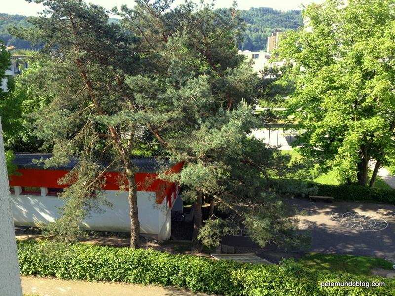 Eu vejo da janela da cozinha o jardim de infância que a Ana Julia irá.