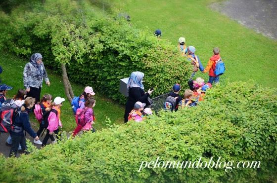 A turminha saindo para o passeio. Algumas mães levaram seus filhos na escola para acompanhar o momento. Eu fiquei da janela cuidando.
