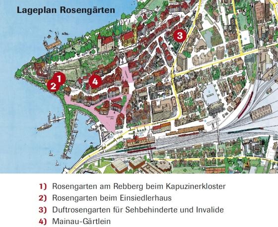 Mapa da cidade e onde você pode encontrar os jardins de rosas. Foto: www.vvrj.ch
