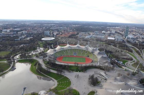 Vista do parque olímpico do alto da torre.