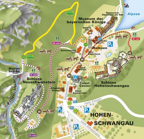 Aqui, as opções de caminhos para chegar até o Neuschwanstein. Foto: www.hohenschwangau.de