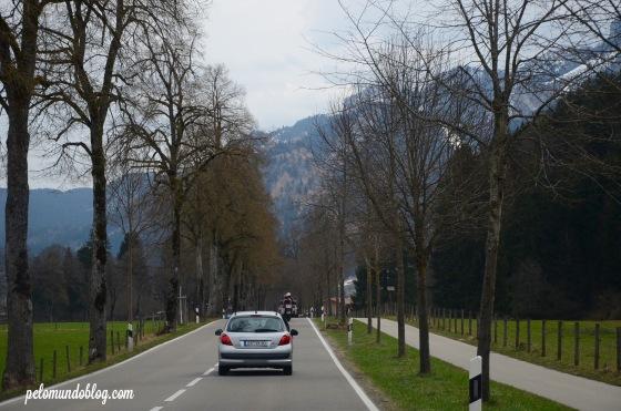 Caminho para o castelo de Neuschwanstein.