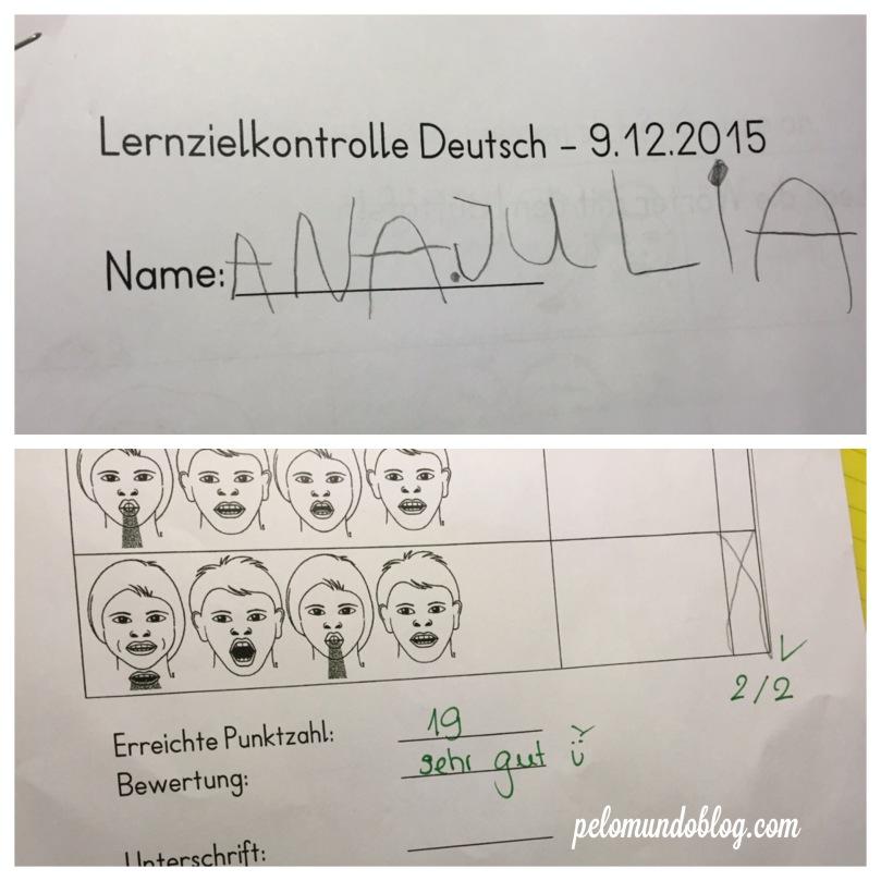 Um dos Lernzielkontrolle de alemão que a Ana Julia já fez.